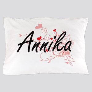 Annika Artistic Name Design with Heart Pillow Case