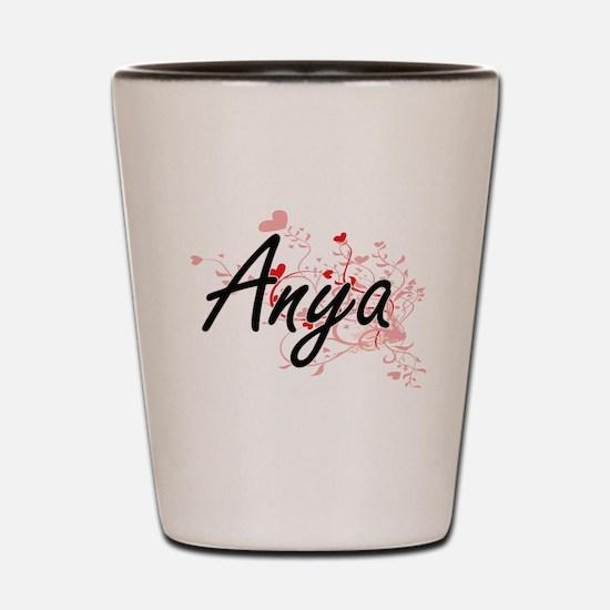 Anya Artistic Name Design with Hearts Shot Glass