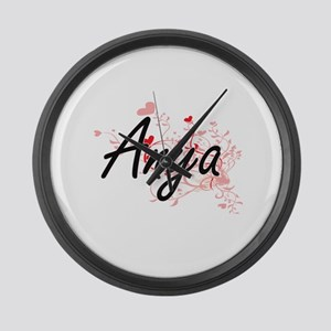 Anya Artistic Name Design with He Large Wall Clock