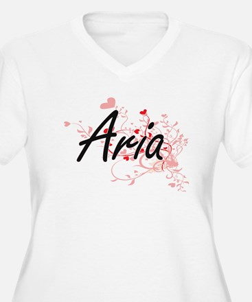 Aria Artistic Name Design with H Plus Size T-Shirt
