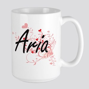Aria Artistic Name Design with Hearts Mugs