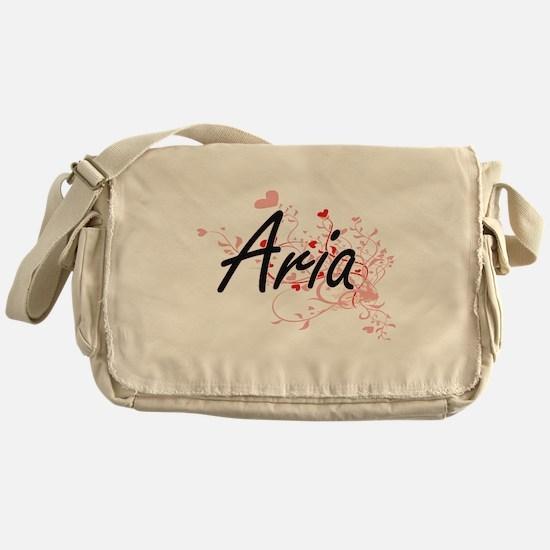 Aria Artistic Name Design with Heart Messenger Bag