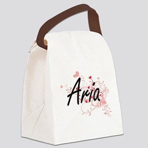 Aria Artistic Name Design with He Canvas Lunch Bag