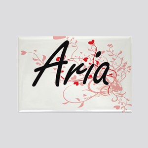 Aria Artistic Name Design with Hearts Magnets