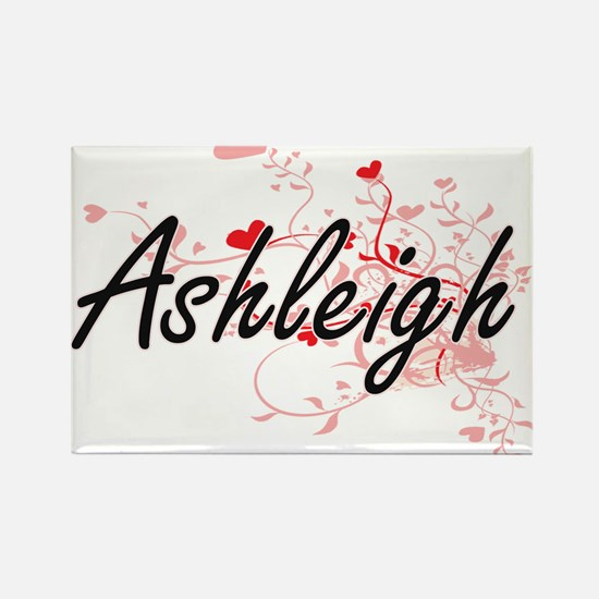 Ashleigh Artistic Name Design with Hearts Magnets