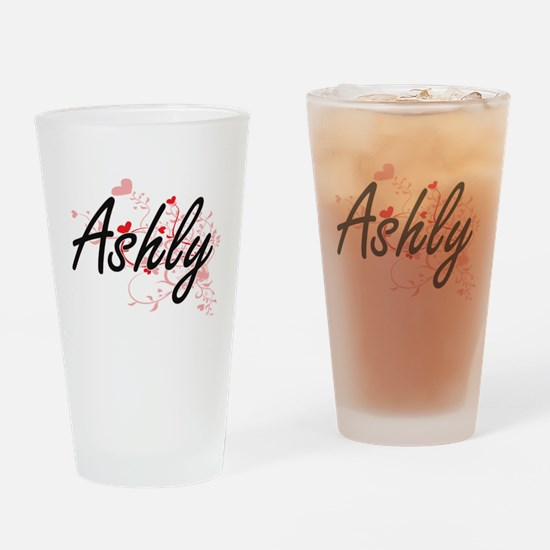 Ashly Artistic Name Design with Hea Drinking Glass