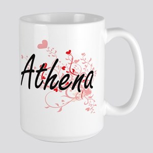 Athena Artistic Name Design with Hearts Mugs