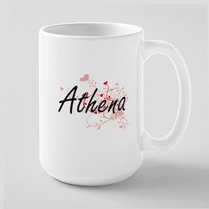 Athena Artistic Name Design with Hearts Mugs