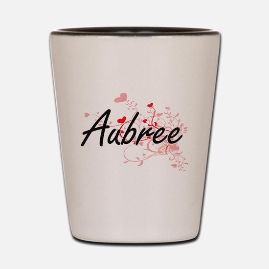 Aubree Artistic Name Design with Hearts Shot Glass