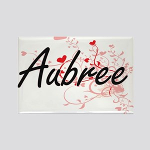 Aubree Artistic Name Design with Hearts Magnets
