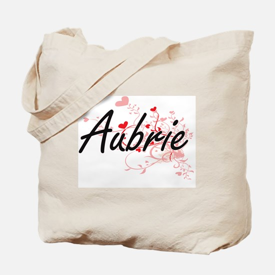 Aubrie Artistic Name Design with Hearts Tote Bag