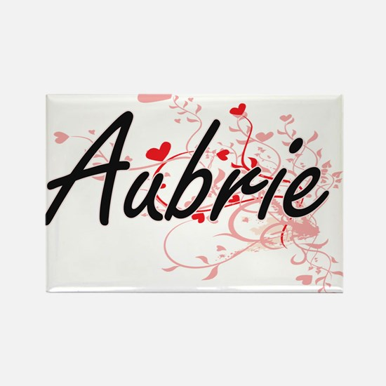 Aubrie Artistic Name Design with Hearts Magnets