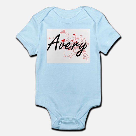 Avery Artistic Name Design with Hearts Body Suit