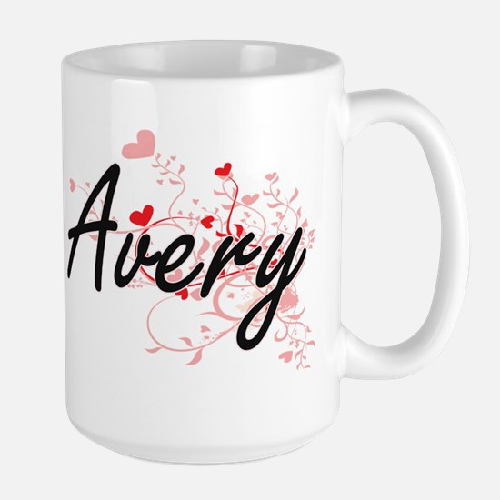 Avery Artistic Name Design with Hearts Mugs