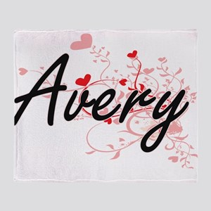 Avery Artistic Name Design with Hear Throw Blanket