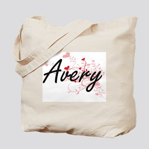 Avery Artistic Name Design with Hearts Tote Bag
