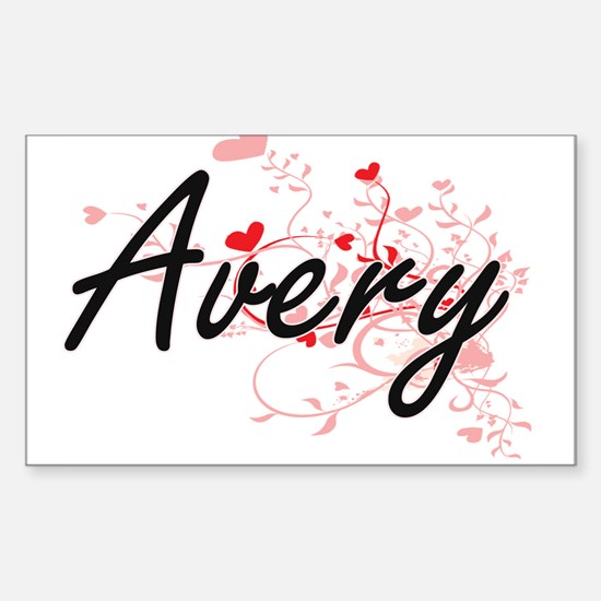 Avery Artistic Name Design with Hearts Decal