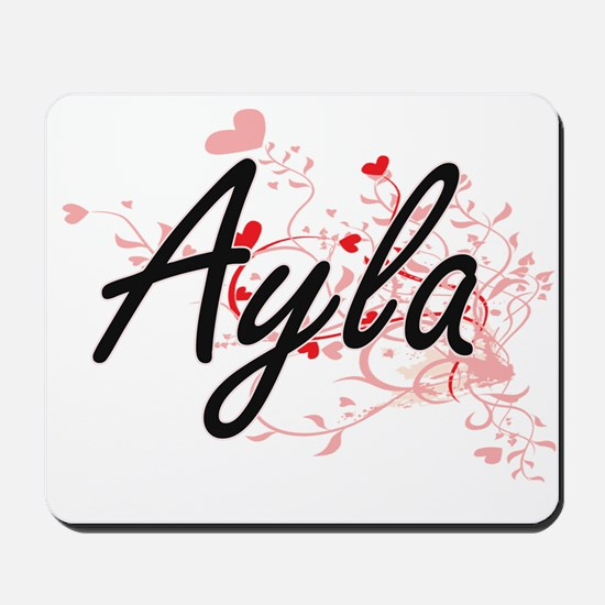 Ayla Artistic Name Design with Hearts Mousepad