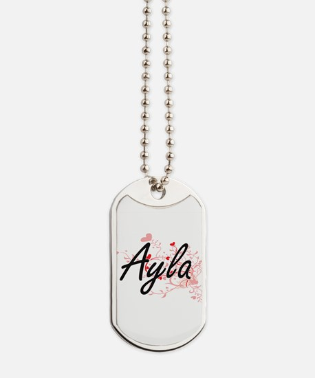 Ayla Artistic Name Design with Hearts Dog Tags