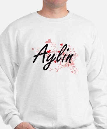 Aylin Artistic Name Design with Hearts Sweater