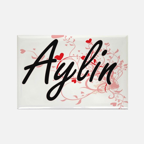 Aylin Artistic Name Design with Hearts Magnets