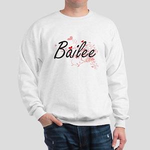 Bailee Artistic Name Design with Hearts Sweatshirt