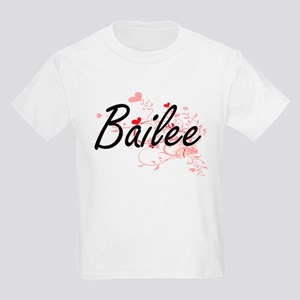 Bailee Artistic Name Design with Hearts T-Shirt