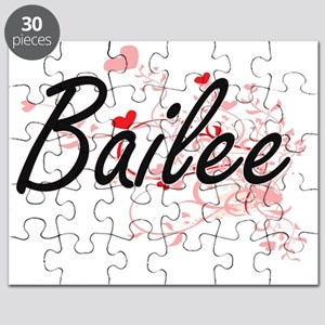 Bailee Artistic Name Design with Hearts Puzzle