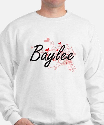 Baylee Artistic Name Design with Hearts Sweatshirt