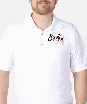 Belen Artistic Name Design with Hearts Golf Shirt