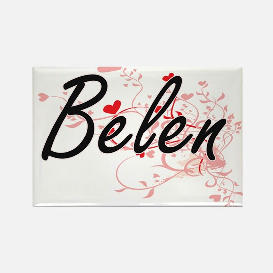 Belen Artistic Name Design with Hearts Magnets