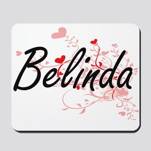 Belinda Artistic Name Design with Hearts Mousepad