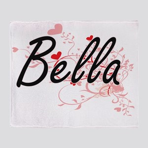 Bella Artistic Name Design with Hear Throw Blanket