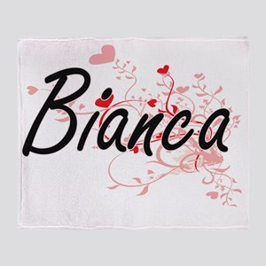 Bianca Artistic Name Design with Hea Throw Blanket