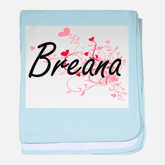 Breana Artistic Name Design with Hear baby blanket