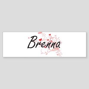 Brenna Artistic Name Design with He Bumper Sticker
