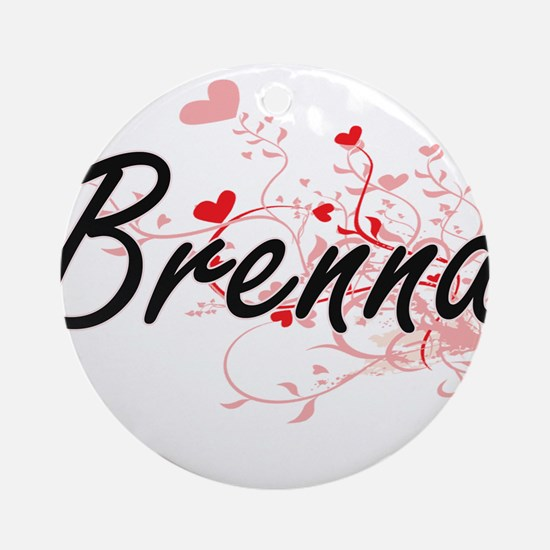 Brenna Artistic Name Design with Ornament (Round)