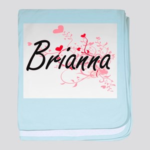Brianna Artistic Name Design with Hea baby blanket