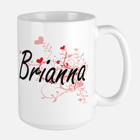 Brianna Artistic Name Design with Hearts Mugs