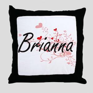 Brianna Artistic Name Design with Hea Throw Pillow