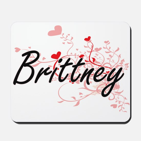 Brittney Artistic Name Design with Heart Mousepad