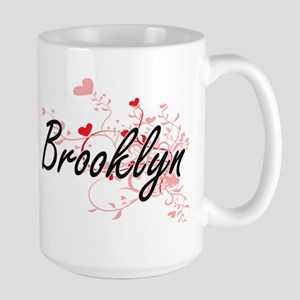 Brooklyn Artistic Name Design with Hearts Mugs