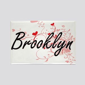 Brooklyn Artistic Name Design with Hearts Magnets