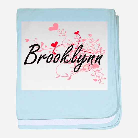 Brooklynn Artistic Name Design with H baby blanket