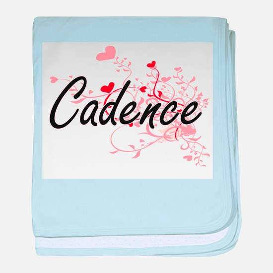 Cadence Artistic Name Design with Hea baby blanket