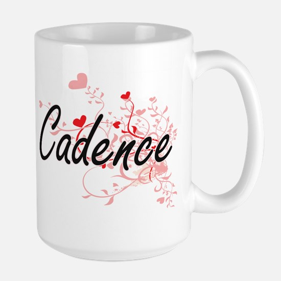 Cadence Artistic Name Design with Hearts Mugs