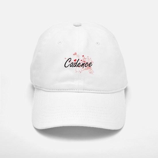 Cadence Artistic Name Design with Hearts Baseball Baseball Cap