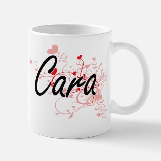 Cara Artistic Name Design with Hearts Mug