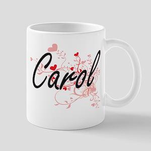 Carol Artistic Name Design with Hearts Mugs