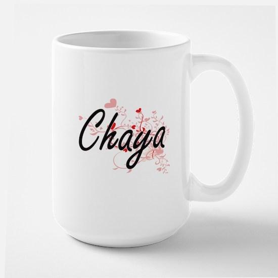 Chaya Artistic Name Design with Hearts Mugs